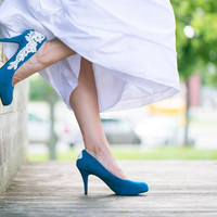 Wedding Shoes - Teal Blue Bridal Shoes/Wedding Shoes with Ivory Lace. US Size 10