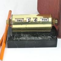 Antique Perpetual Calendar Brass with Black by ToucheVintage