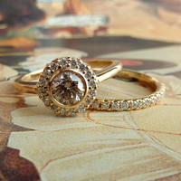 Yellow Gold Bezel Set Diamond Halo Ring