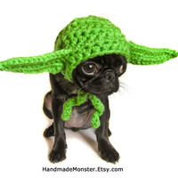 DOG COSTUME HAT star wars yoda inspired medium or large pet costume geekery nerdy costumes jedi photo photography prop