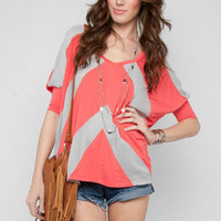 Chiffon Paneled Top in Coral :: tobi