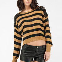 Lacing Stripes Sweater in Camel :: tobi
