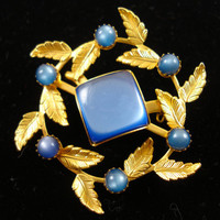 Vintage Brooch / Sapphire Blue Lucite Moonstone Brooch / TREASURY ITEM
