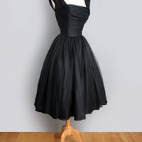1960&#x27;s Black Ruched Chiffon Evening Cocktail Party Dress 1960&#x27;S 1950&#x27;S BLACK CHIFFON EVENING PARTY VINTAGE DRESS: Audrey Hepburn worthy! :
