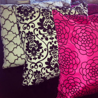 Decorative Pillows pink/black/white  by AngeliqueMerici on Etsy