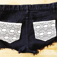 High Waisted Jeans Shorts Lace Pockets Size by UnraveledClothing