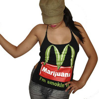Reversible Backless Marijuana McDonalds Funny Parody Im Smokin It Ladies Custom DIY Halter Top - Size Medium