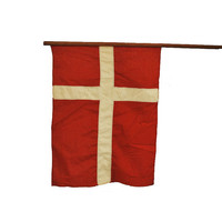 Vintage Denmark Flag / Linen Danish Flag by midmoderngoods on Etsy