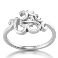 Chuvora 925 Sterling Silver Calligraphy Style Yoga, Aum, Om, Ohm, India Symbol Ring, US Size 6, 7, 8, 9: Jewelry: Amazon.com