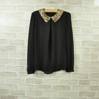 New Womens Vintage Sequin Peter Pan Collar Puff Sleeve Sheer Loose Blouse Tops J