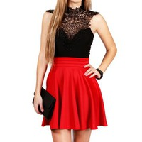 Black/Red Crochet Dress