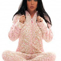 Pink Giraffe - Chenille Footed Pajamas - Pajamas Footie PJs Onesuit One Piece Adult Pajamas - JumpinJammerz.com