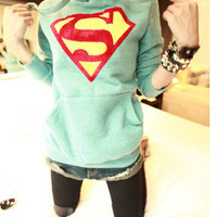 Womens Cute Superman Logo Hoodie Casual Pullover Coat Tops Outwear YWF-0140