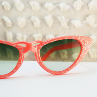 1960's Fluoro Orange Silver Swirl Cat Eye by THAYEReyewear on Etsy