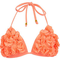 Coral flower stud halter neck bikini top