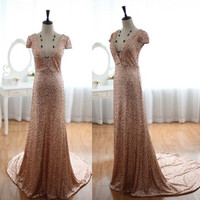 Champagne Gold Sequins Wedding Dress Prom Dress Cap Sleeves Deep V Dress