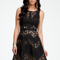 Lace & Contrast Zigzag Dress
