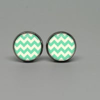 Silver Stud Post Earrings with Mint Chevron by Thedeerandbird
