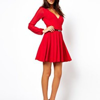 ASOS Skater Dress With Chiffon Sleeves And Belt at asos.com