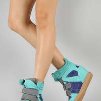 Qupid Patrol-01 Suede Multi Tone Wedge Sneaker