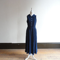 blue polka dot dress  / sleeveless dress / 90s dress / collared dress