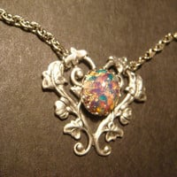 Beautiful Fire Opal Heart Vine Necklace in Antique Silver (890)