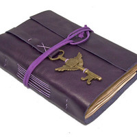 Purple Leather Journal with Tea Stained Pages and Winged Clock Key Bookmark