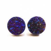 Cobalt Blue Flame Druzy Stud Earrings n39 by AstralEYE on Etsy