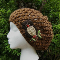 Cocoa Crocheted Slouchy Beanie Hat with Brown Owl