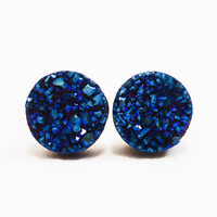 Cobalt Blue Flame Druzy Stud Earrings n46 by AstralEYE on Etsy