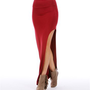 Rumba Red Thigh High Slit Maxi Skirt
