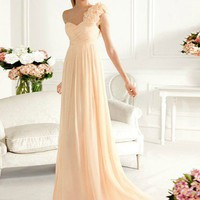 WowDresses  Sheath/Column One-shoulder Sweep Train Prom Dress