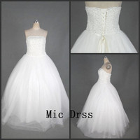 Strapless sleeveless floor-length white tulle with sequins ball gowns Prom /Evening/Party/Homecoming/cocktail /Bridesmaid/Formal Dress