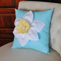 Daffodil Flower on Blue Pillow NEW 2013 BEDBUGGS by bedbuggs