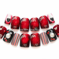 A Romantic Gothic Valentine Set of Fake Nails 3D