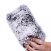 Rhinestone Winter Warm fur with Lace Cover for iPhone 4/4s