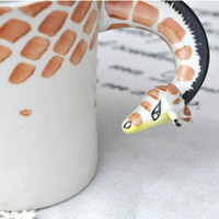 Unique Handpainted Giraffe Ceramic Cup