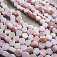 Pink Peruvian Opal Smooth Coin Shape Full Strand