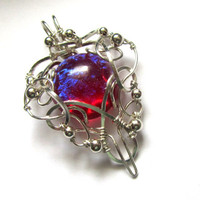 Dragon's Breath Fire Opal Pendant - Silver Wire Wrapped Necklace - Medieval, Elven, Elvish Jewelry - Heart of Fire
