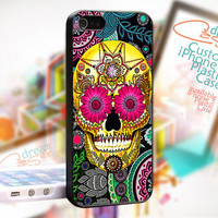 Day of The Dead Sugar Skull - Bone Paisley Pattern - JDC158TB - Cover Black Border - iPhone 4 / 4S - iPhone 5 Case - Black / White / Clear