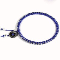 Bangle Bracelet Cotton and Bead Wrapped Blue Flower Charm