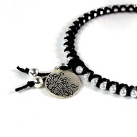 Bangle Bracelet Cotton and Pearl Wrapped Black Silver Flower Charm