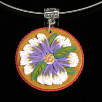 Polymer Clay Necklace - Polymer Clay Jewelry - Art Jewelry - Floral Necklace -  Clay Jewelry - Silver Jewelry