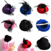 5 Color Women Feather Hair Clip Mini Top Hat Fascinator Cocktail Party Decor New