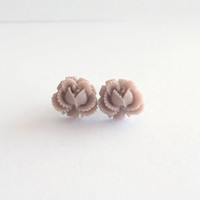 Mauve Ruffled Rose Earring - Surgical Steel Stud Earrings