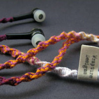 Wrapped Tangle Free Earbuds / Headphones 'Batik' By Wrapture Designs