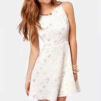 Flitter Sweet Symphony Cream Embroidered Dress