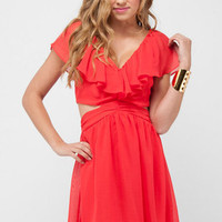 Ruffled Cutout Dress in Coral Red :: tobi