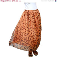 ON SALE Spring Fashion Skirt / Butterfly  Print Orange Chiffon Maxi Skirt - Ready to Ship