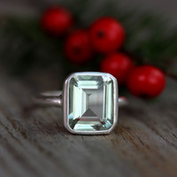 Green Amethyst Emerald Cut Ring in Argentium by onegarnetgirl